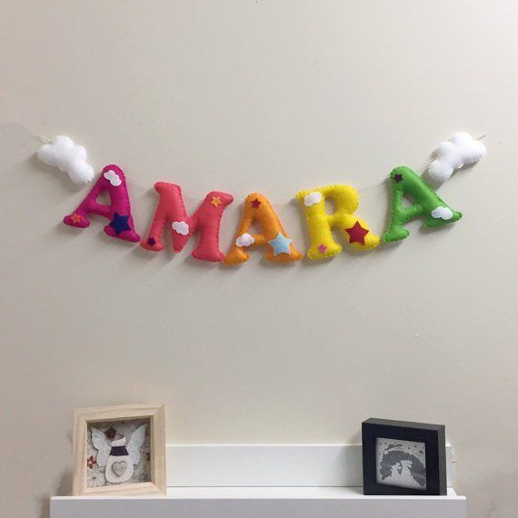 Personalised Rainbow and Clouds Name Bunting