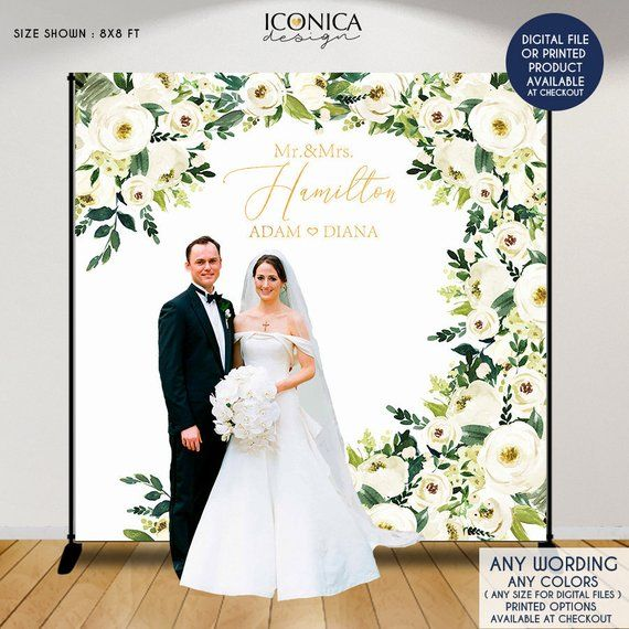 Wedding Photo Booth Backdrop Personalized Step And Repeat Backdrop Engagement Party Banner White Flowers And Greenery Wedding Decor Bwd0035 Photo Booth Backdrop Wedding Wedding Photo Booth Wedding Backdrop