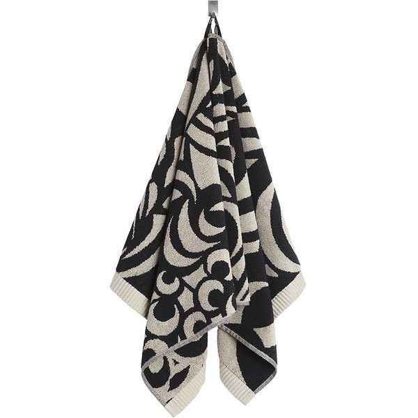 Marimekko Raakel Towel - Beige/Black - Beige/Black ($56) ❤ liked on Polyvore featuring home, bed & bath, bath, bath towels, patterned bath towels, ivory bath towels, marimekko and black bath towels