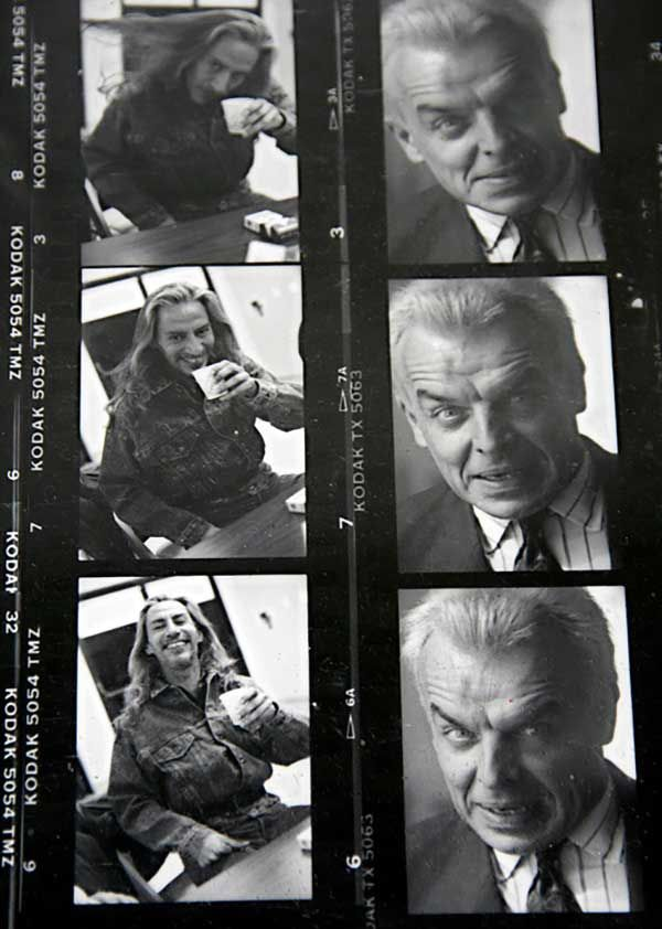Proof sheet of Frank Silva and Ray Wise on the set of the Twin Peaks.