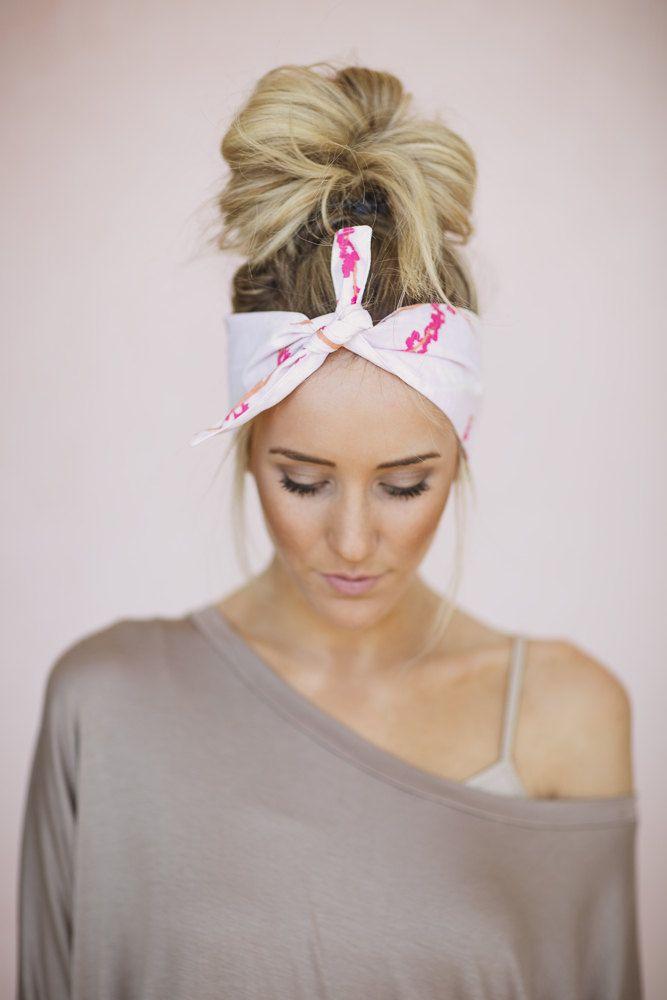 Dolly Bow Tie Up Headscarf Headband Bandana Hair by ThreeBirdNest, $18.00
