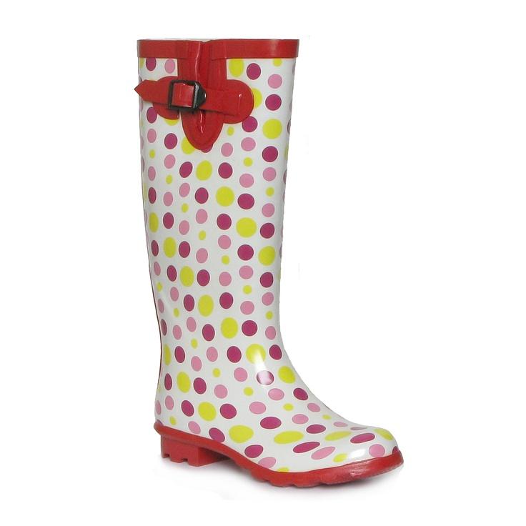 Multi Coloured Polka Dot Wellington Boot - £9.99 - www.shoezone.com