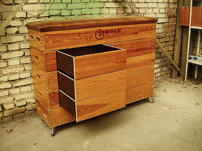 """Drawers added to this classic sports-box make it a great furniture. German engineering by """"Zur schönen Linde"""""""