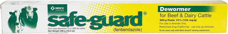 Safe-Guard Dewormer Paste for Beef & Dairy Cattle 290 gm (treats 25 - 500 lb calves)