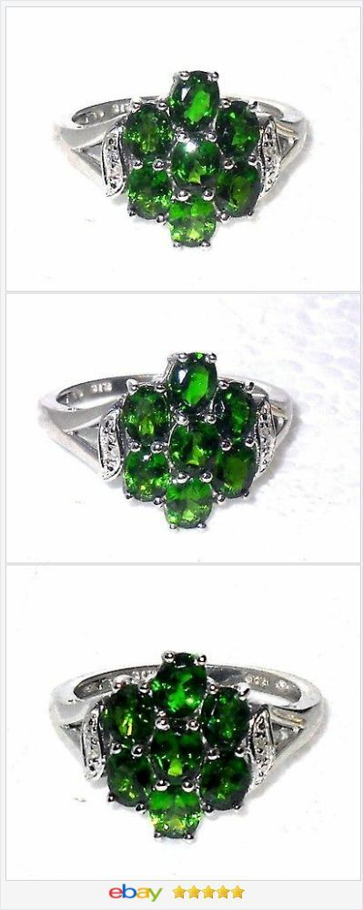 Russian Chrome Diopside white topaz ring 2.89 ctw size 8 Sterling USA Seller 50% OFF #Ebay http://stores.ebay.com/JEWELRY-AND-GIFTS-BY-ALICE-AND-ANN
