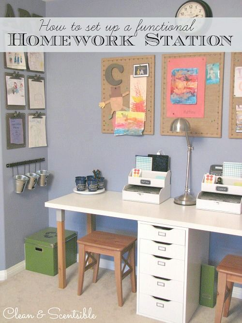 awesome! my daughters need to check this out. would be  great for their boys. How to set up a functional and organized homework station.