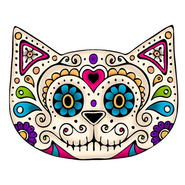 SugarSkull Cat by starpixie, via Flickr