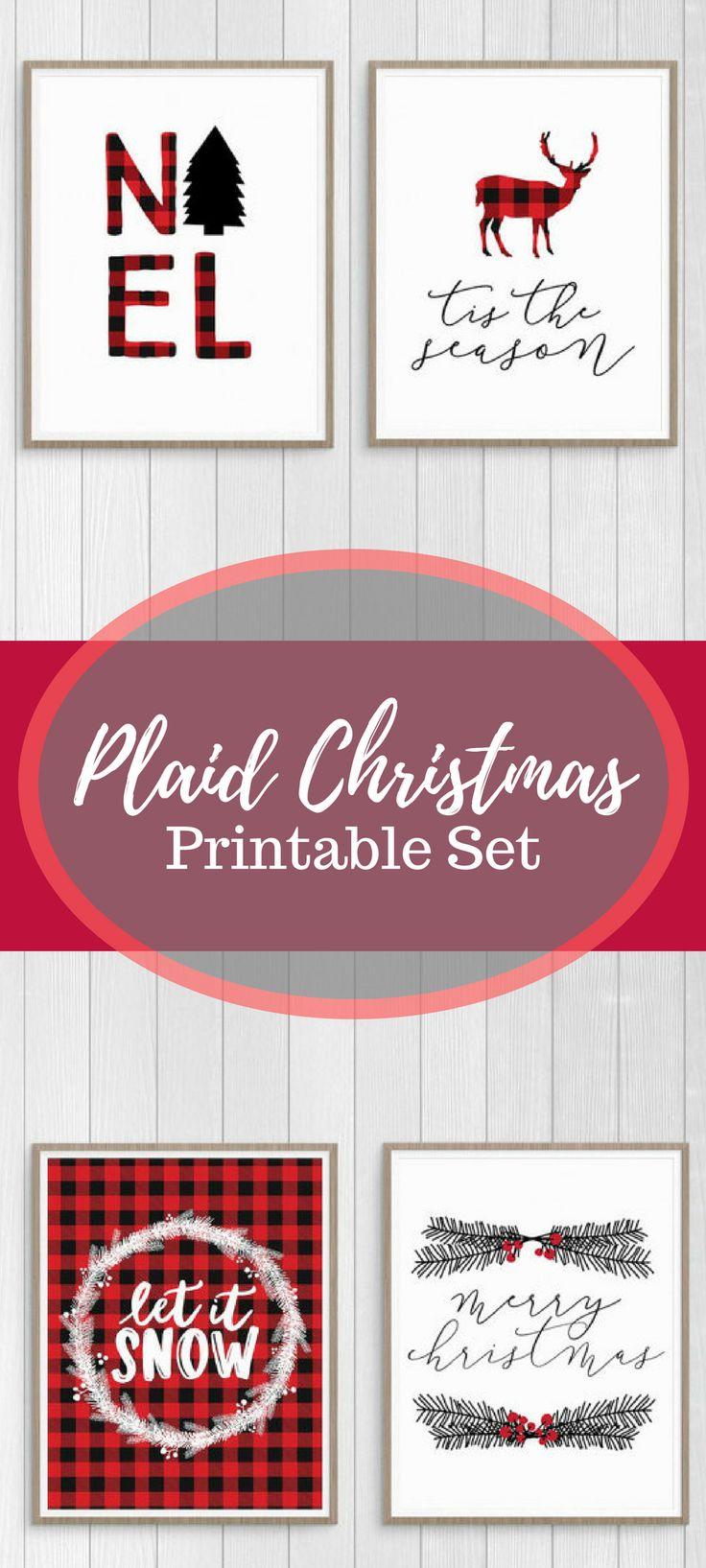 Plaid Christmas Printable Set, Red Plaid Christmas Decor, Plaid Holiday Wall Art Prints, NOEL, Let it Snow, Tis the Season, Merry Christmas #afflink