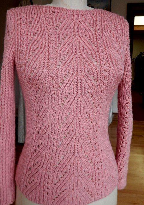 Пуловер с красивым узором по центру переда. Красивый пуловер спицами | Вязание для всей семьи