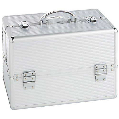 "Beautify Large Silver Makeup Cosmetic Organizer Train Case 14"" Professional Aluminum Storage Box with Lock. For product & price info go to:  https://beautyworld.today/products/beautify-large-silver-makeup-cosmetic-organizer-train-case-14-professional-aluminum-storage-box-with-lock/"