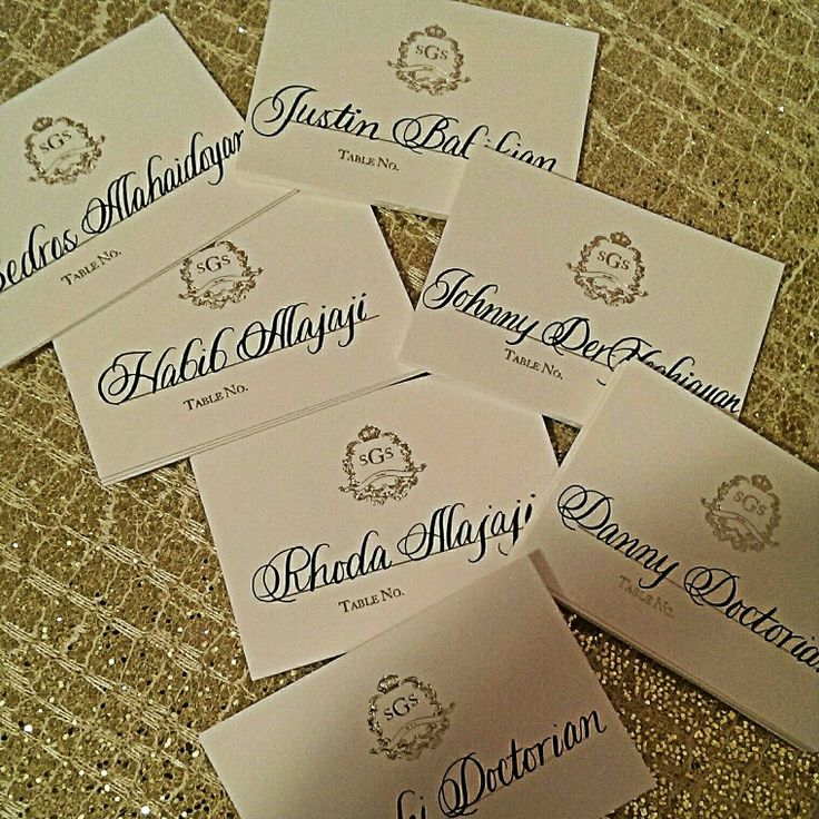 Calligraphy place cards underway placecards