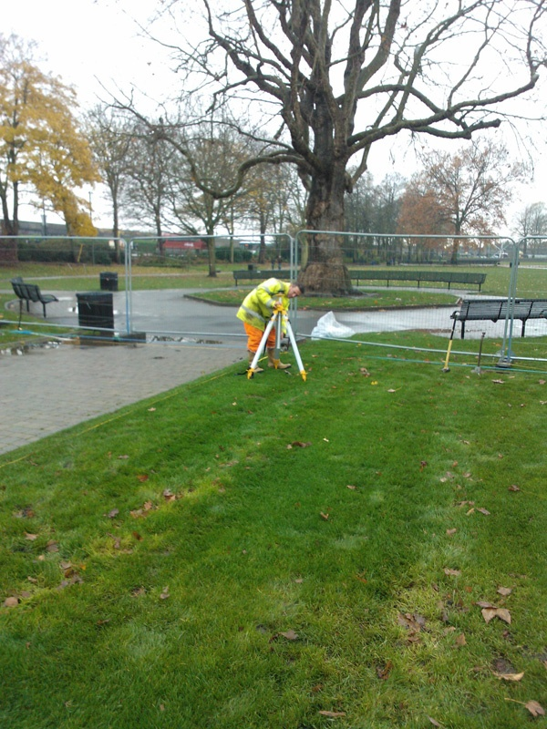 Windsor On Ice Preparations (2012) ... Woody ensuring the marquee area is level.