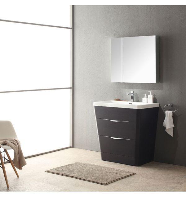 Fresca Milano 32 In Chestnut Modern Bathroom Vanity With Medicine