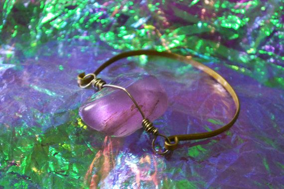 Beautiful hand made Real Quartz Bracelet. Stainless Brass