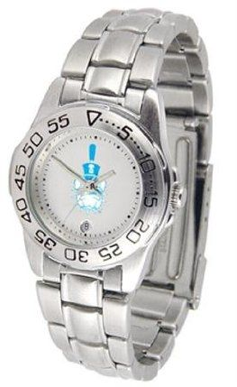 The Citadel Bulldogs Ladies Stainless Steel Wristwatch by SunTime. $56.95. Women. Officially Licensed The Citadel Bulldogs Ladies Wristwatch. Calendar Function With Rotating Bezel. Links Make Watch Adjustable. Stainless Steel-Scratch Resistant Crystal. Citadel Bulldogs ladies stainless steel wristwatch. Women's Bulldogs watch comes with a stainless steel link bracelet. A date calendar function plus a rotating bezel/timer circles the scratch resistant crystal. The scratc...