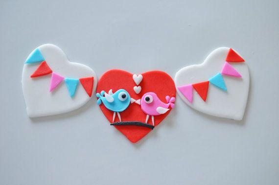 Valentine's Day Fondant Love Birds Cupcake by FunFondantCreations, $19.95