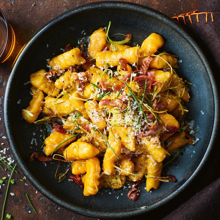 Roast Pumpkin Gnocchi With Crisp Prosciutto, Leek & Chives