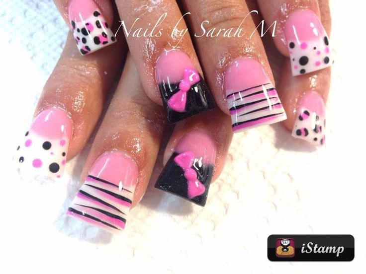 Pink and black different nail art on each finger, zebra and leopard print, wide/duck/flare acrylic nails