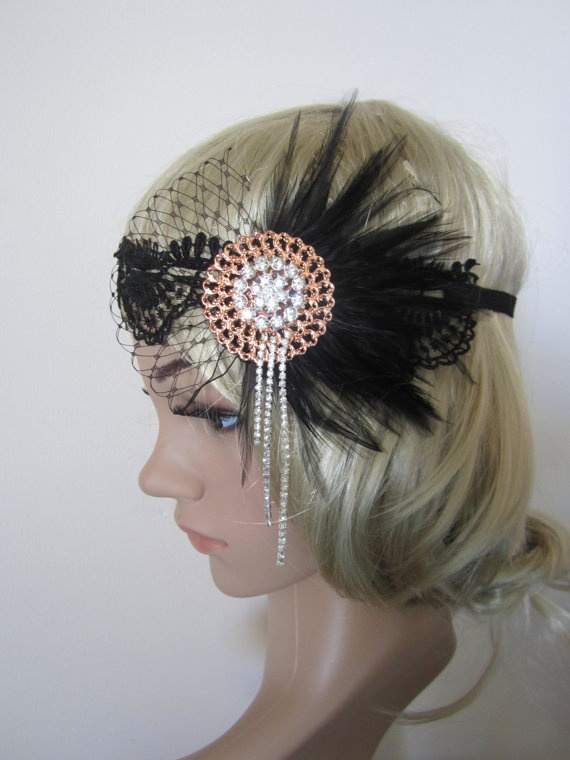 1920s inspired Art Deco  flapper headband.