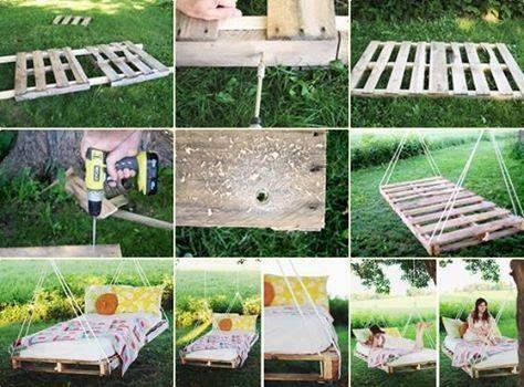 Meubels maken van pallets, schommelbed voor in de tuin.