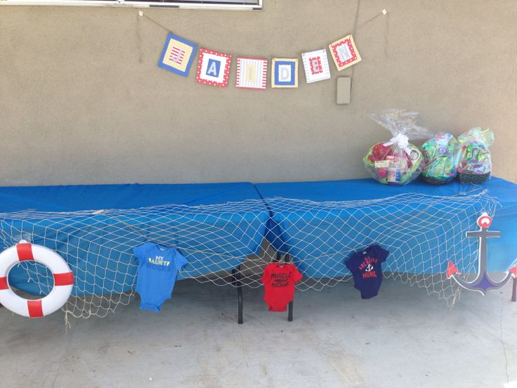 Sailor Baby Shower Theme .. Gift Table