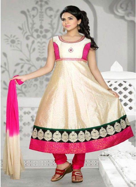 Exquisite Beige Chanderi Cotton Silk #Salwar_Kameez