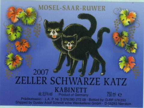 We used to drink this stuff in the summer with strawberries or peaches in it. Yum!! Zeller Schwarze Katz  German wine label