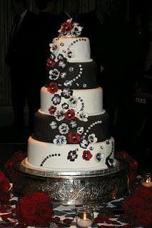 MuyAmeno.com: Tortas de Boda de Color Negro y Rojo