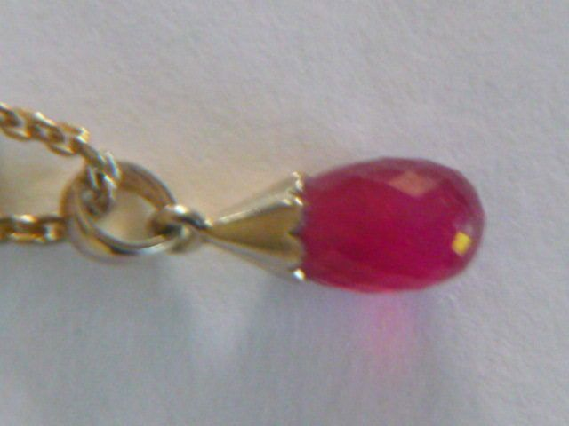 RUBY 6CTS DROP 925 SILVER PENDANT & NECKLACE