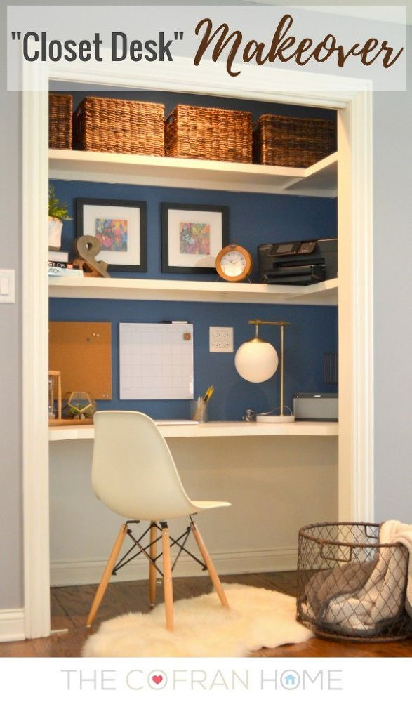 closet desk makeover, closet, home office, painting, storage ideas