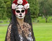 La Rosa Catrina Mask for Day of the Dead/Dia de los Muertos/Wedding/Cosplay. $199.00, via Etsy.