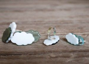 Don't be Mr cloud, rings in fused glass and sterling silver