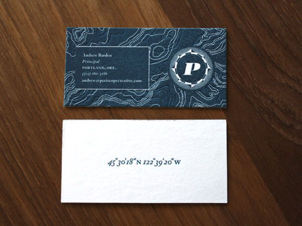 business card w/ geo coordinates: Creative Business Cards, Maps, Graphics Projects, Darrin Crescenzi, Creative Rebrand, Periscop Creative, Creative Businesscard, Design, Letterpresses Business Cards