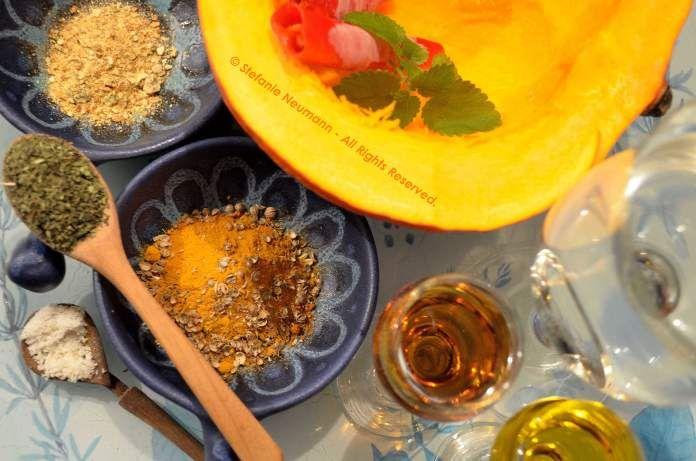 KADDU KI SABZI - #vegan pumpkin Indian style with recipe.   Image: Kaddu Ki Sabzi Ingredients - © Stefanie Neumann - All Rights Reserved.