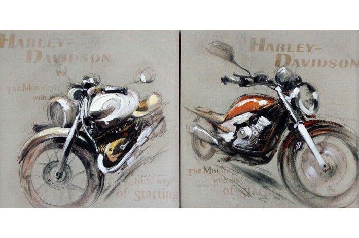 Set de 2 lienzos con motivos de motos. Tu pared ¡a todo ritmo! | #IdeasParaDecorar #Merkamueble