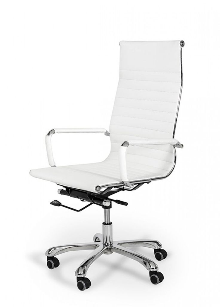 Modrest Scroll Modern White Eco-Leather Office Chair - @ Home Furnishings of Florida Corp