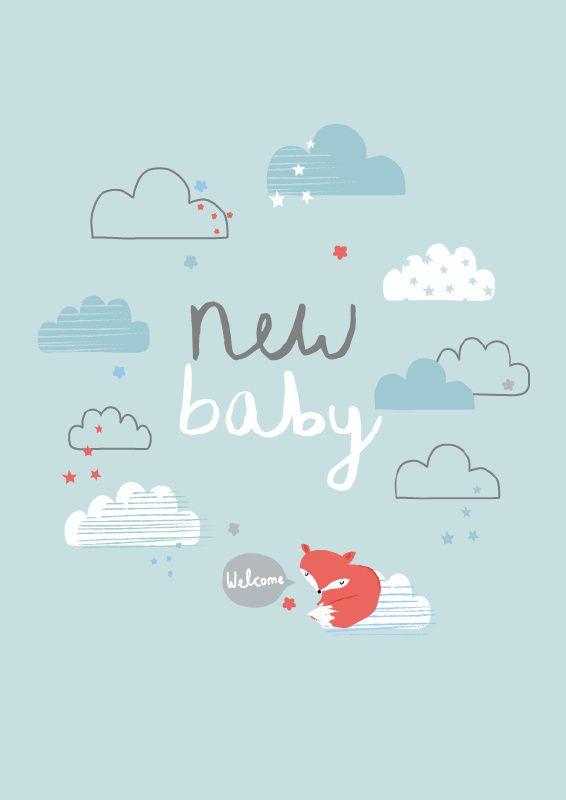 Aless Baylis 'Kaart New Baby Blauw'