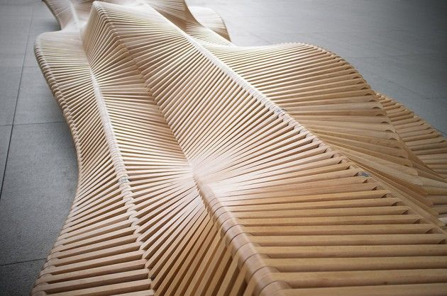 """An extraordinary bench ... and then some.  Per  Contemporist: """"uiliuili bench, designed by the architect Piotr Zuraw, is a piece of city furniture of an intriguing aesthetic form. Its curious shape encourages unconventional behaviors – on the uiliuili bench users can sit, lie down, stretch, curl up, sit a bit higher, climb, jump… Possibilities are endless, and new ones will surely be discovered by the users according to their own preferences and creativity."""""""