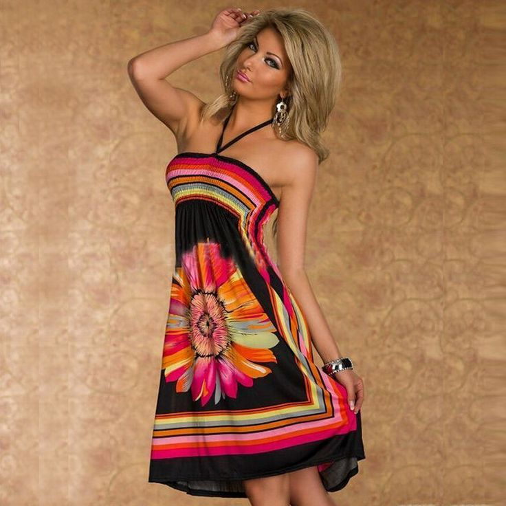 Sexy Casual Bohemian Floral Straps Wrapped Tee Dress Sunflower Printed Beach Club Nightclub Ladies Vest