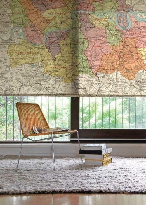 Use creative materials, like maps, as #window #shades