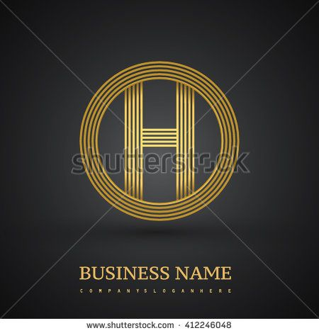 Elegant gold letter symbol. Letter H logo design. Vector logo design template elements  for company identity. - stock vector