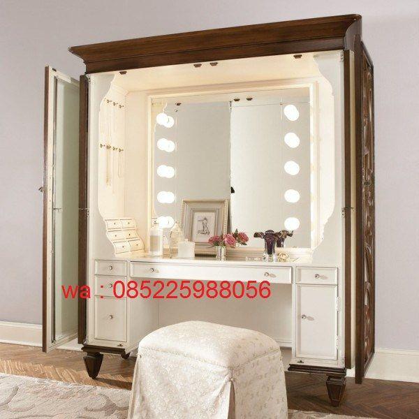 Meja Rias Lampu Terbaru Untuk Salon Kecantikan cat duco putih modern harga murah ini terbuat dari kayu mahoni yang kualitas.