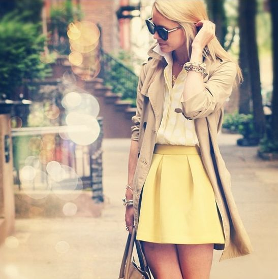 trench. collared shirt. simple skirt.  adorable!