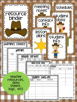 western themed classroom resources, data sheets, logs, information tables, etc.