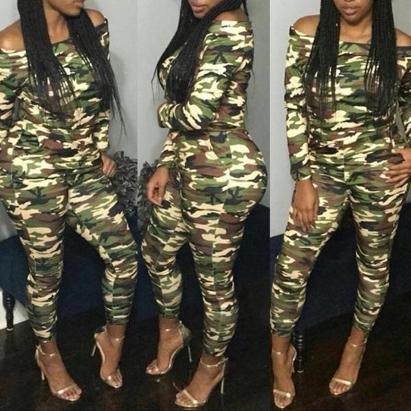 Off Shoulder Camouflage Jumpsuit