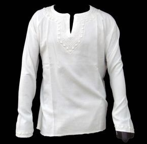 Mens Handmade White Kurta Shirt Tunic Top Cotton Chikankaari Hand Embroidered valentines day kurti. $34.99, via Etsy.