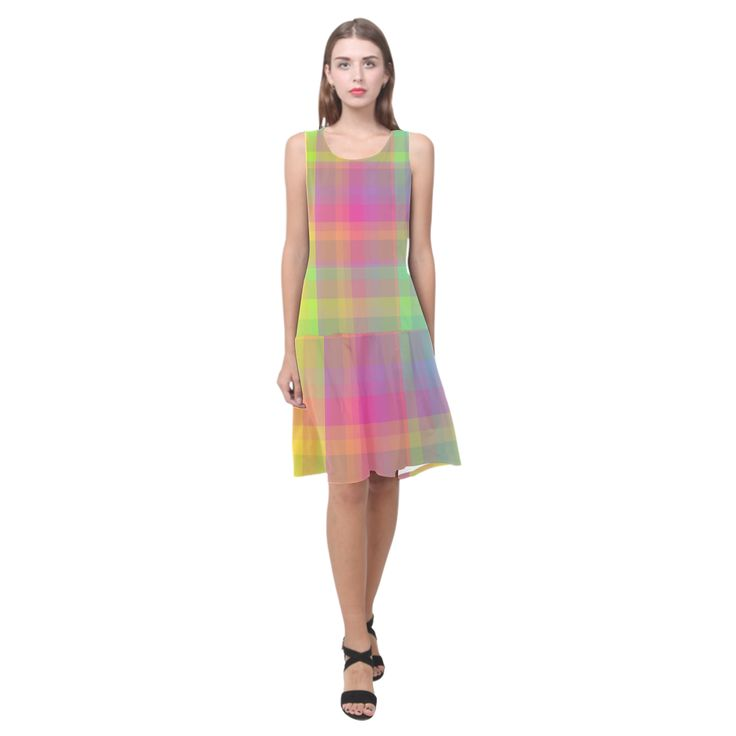 Florescent Rainbow Check Sleeveless Splicing Shift Dress(Model D17)