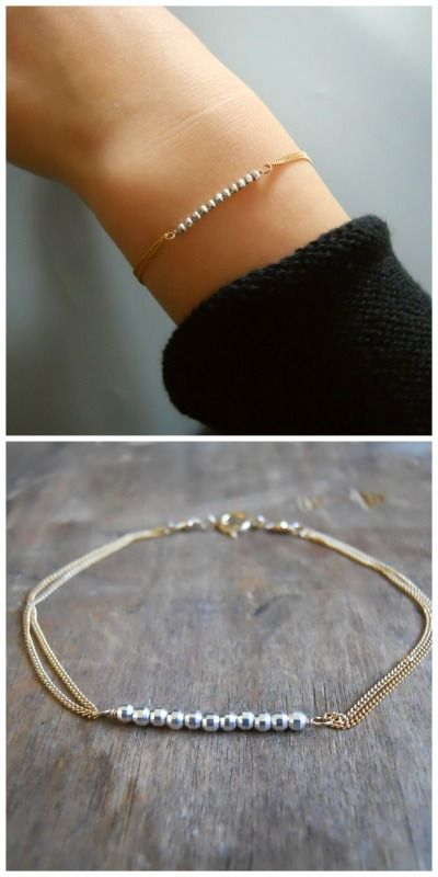 Dainty gold bracelet with silver beads. Perfect for layering with more bracelets.