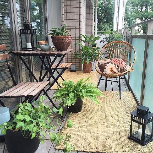 shinさんの、Overview,観葉植物,アンティーク,ベランダ,クッション,一人暮らし,バリ,リゾート,シェフレラ,シダ,スパティフィラム,バンブーチェア,ジェンガラケラミック,ミックス&リラックスについての部屋写真