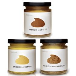 Love the simplicity of the die-cut label packaging of Waitrose's mustard line designed by Lewis Moberly ~ also check out their other packaging work and innovative way of showcasing them.